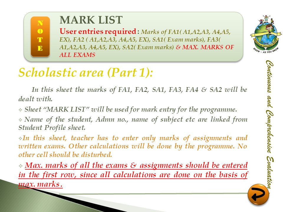 Scholastic area (Part 1):