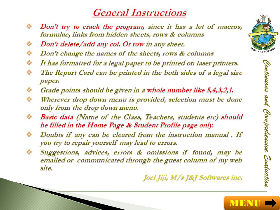 General Instructions Continuous and Comprehensive Evaluation MENU