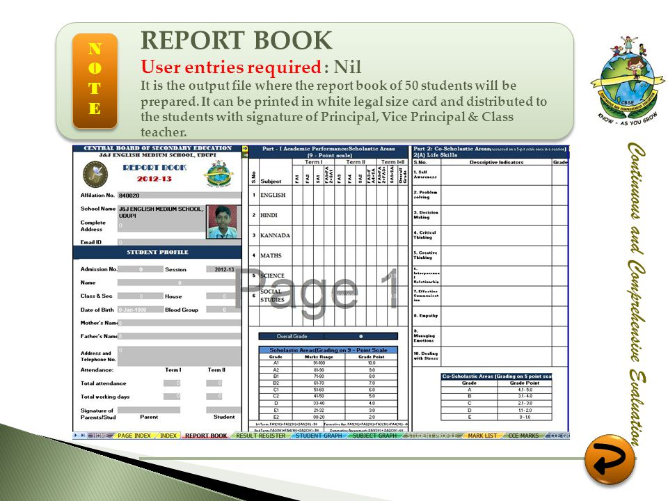 REPORT BOOK Continuous and Comprehensive Evaluation