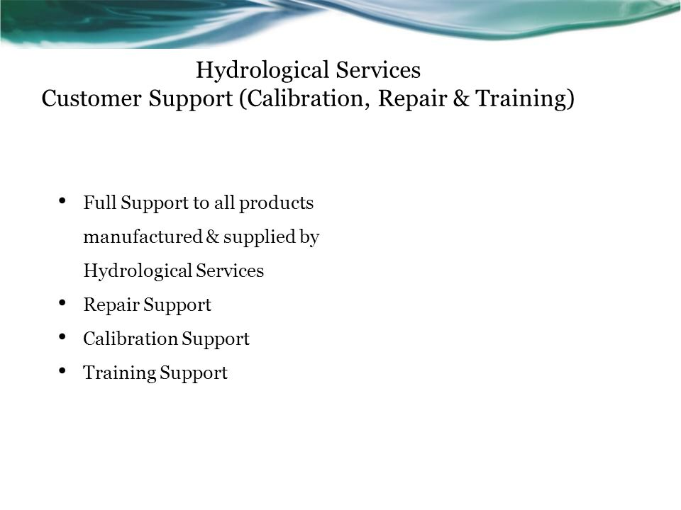 Hydrological Services Customer Support (Calibration, Repair & Training)