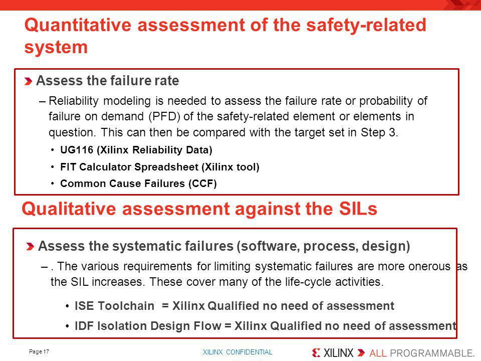 Quantitative assessment of the safety-related system