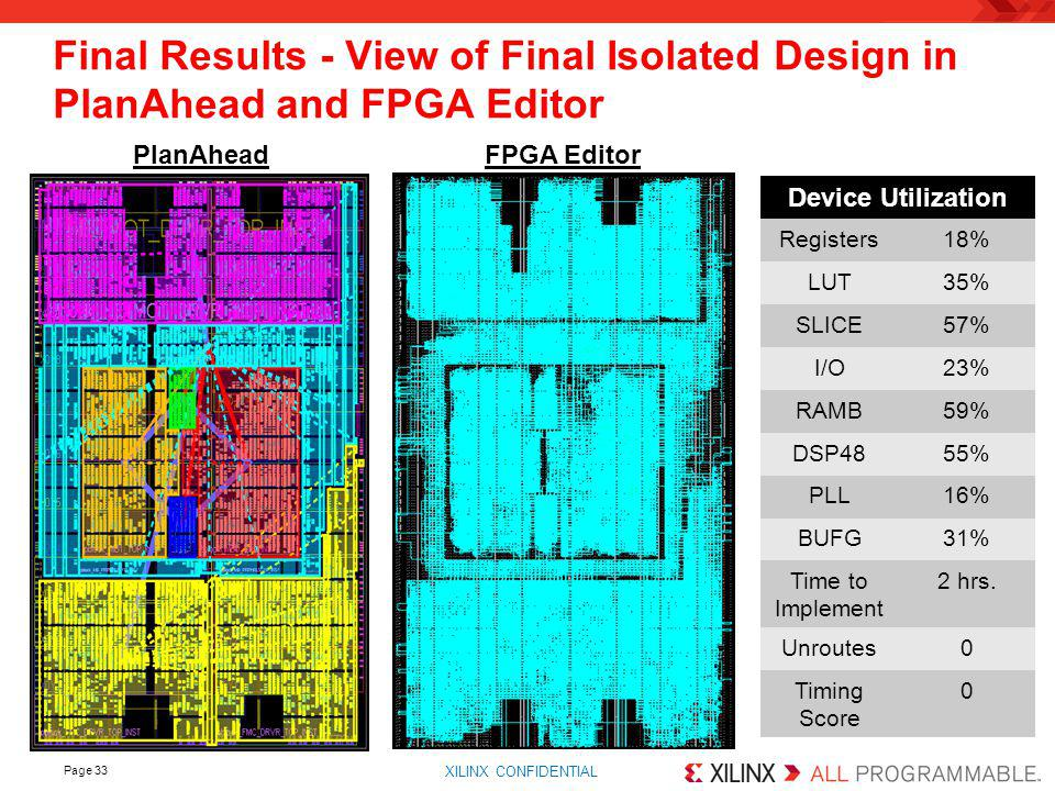 Final Results - View of Final Isolated Design in PlanAhead and FPGA Editor