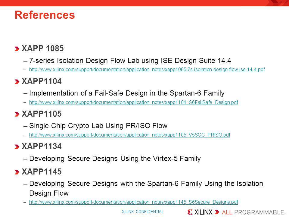 References XAPP 1085 XAPP1104 XAPP1105 XAPP1134 XAPP1145
