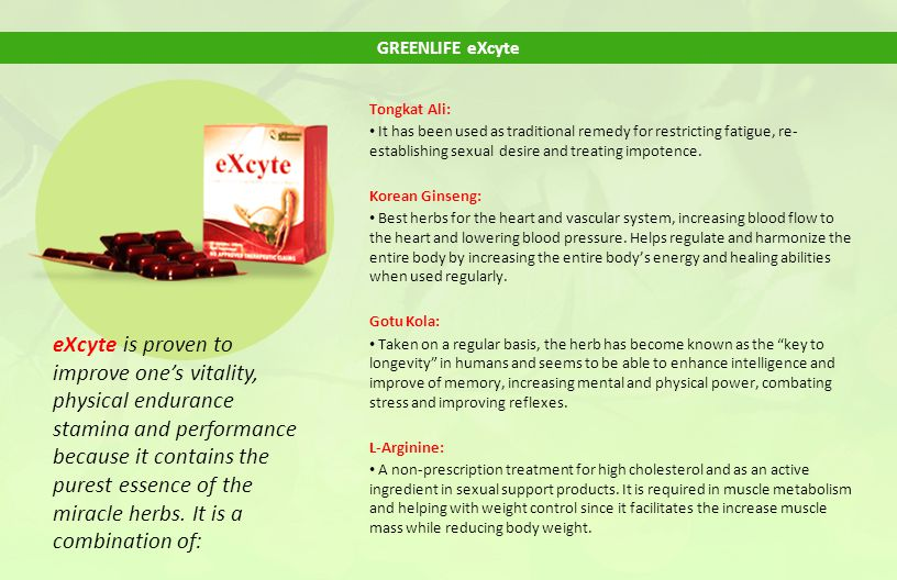 GREENLIFE eXcyte Tongkat Ali: It has been used as traditional remedy for restricting fatigue, re-establishing sexual desire and treating impotence.