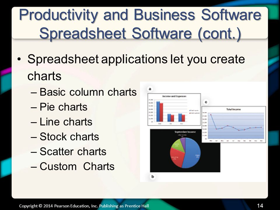 Productivity and Business Software Spreadsheet Software (cont.)