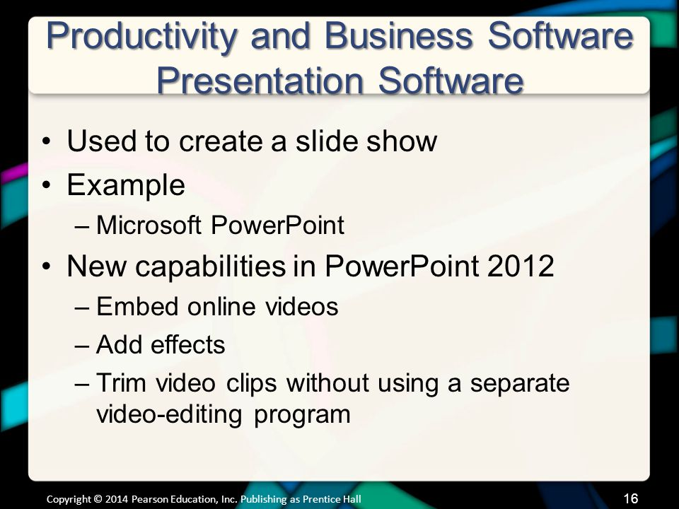 Productivity and Business Software Presentation Software (cont.)