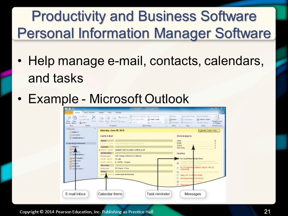 Productivity and Business Software Personal Information Manager Software (cont.)