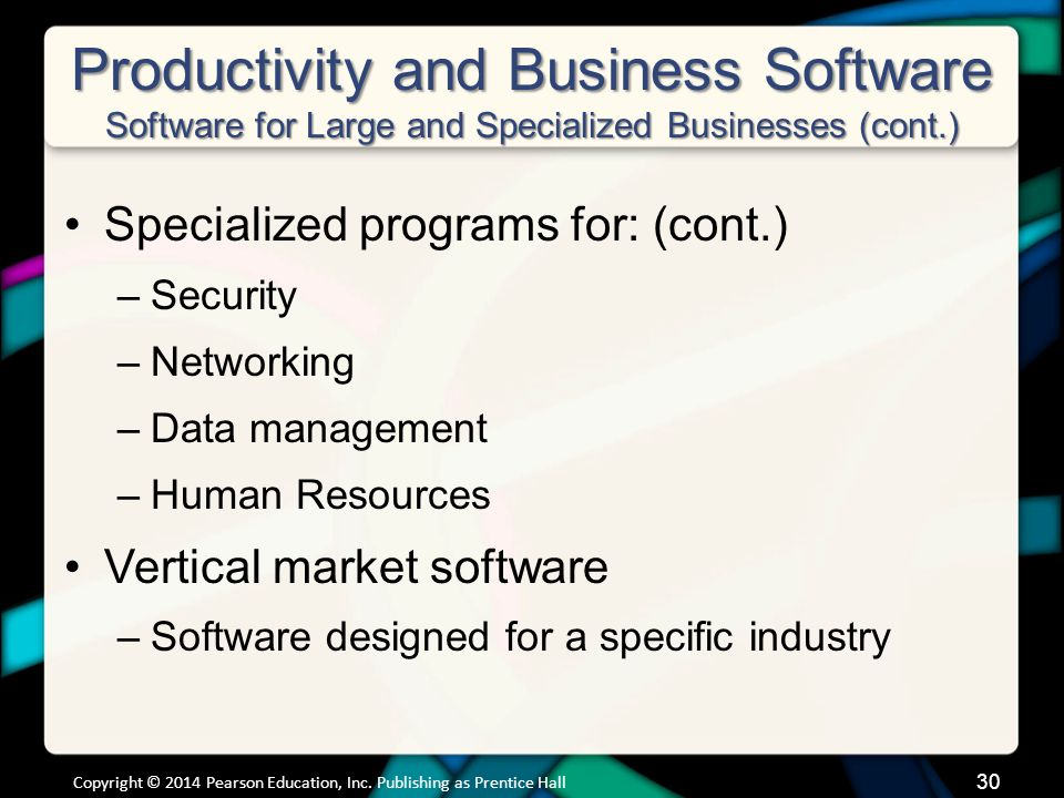 Productivity and Business Software Software for Large and Specialized Businesses (cont.)