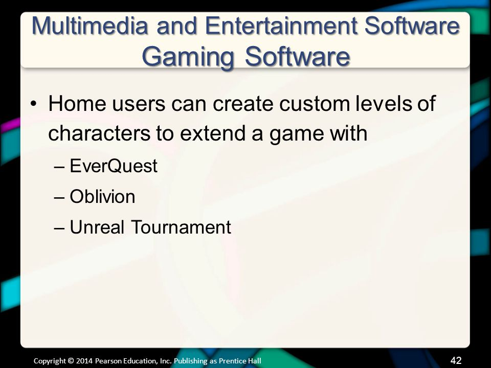 Multimedia and Entertainment Software Gaming Software (cont.)