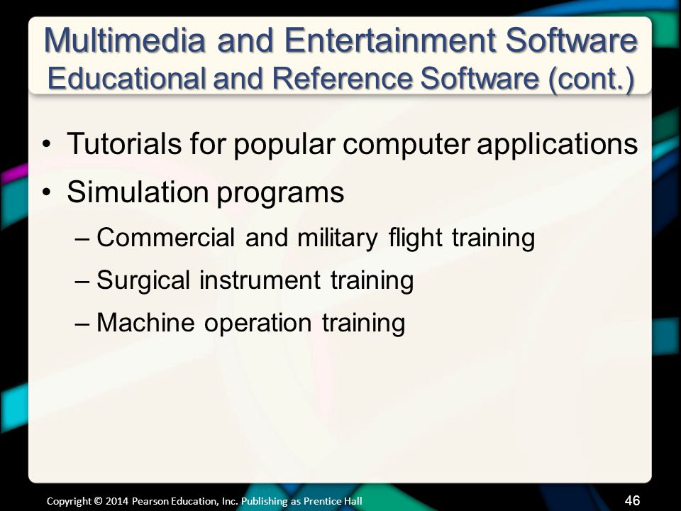 Multimedia and Entertainment Software Educational and reference software (cont.)