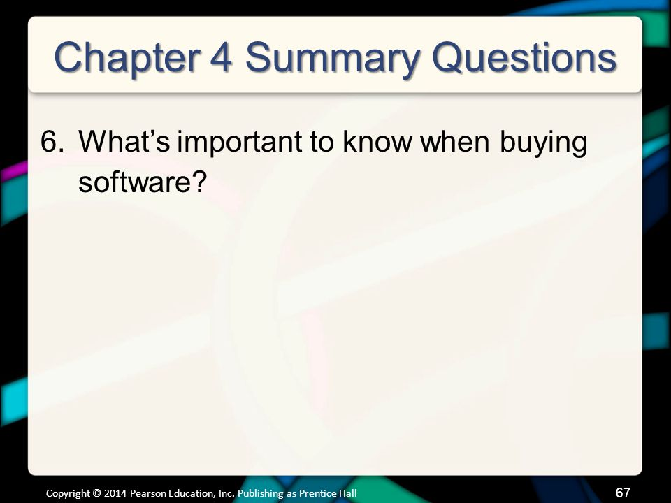 Chapter 4 Summary Questions