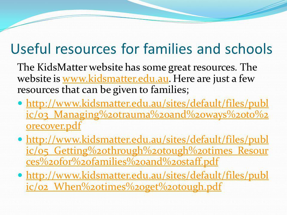 Useful resources for families and schools