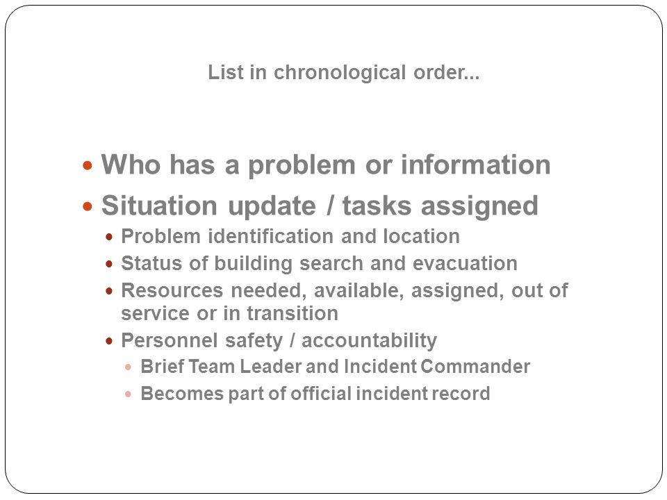 List in chronological order...
