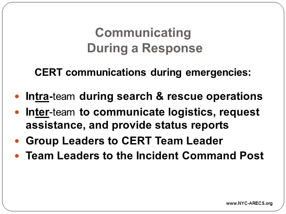 Communicating During a Response