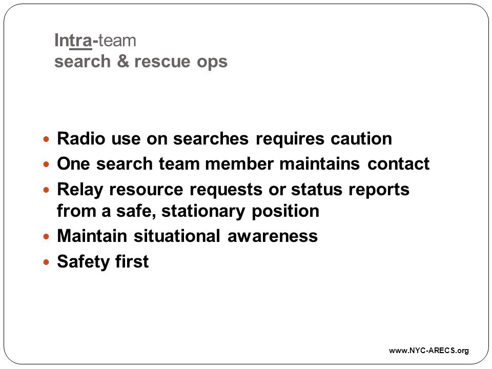Intra-team search & rescue ops