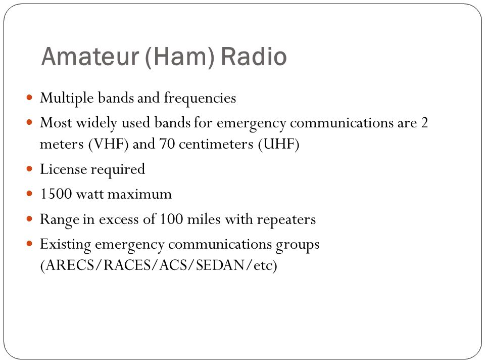 Amateur (Ham) Radio Multiple bands and frequencies