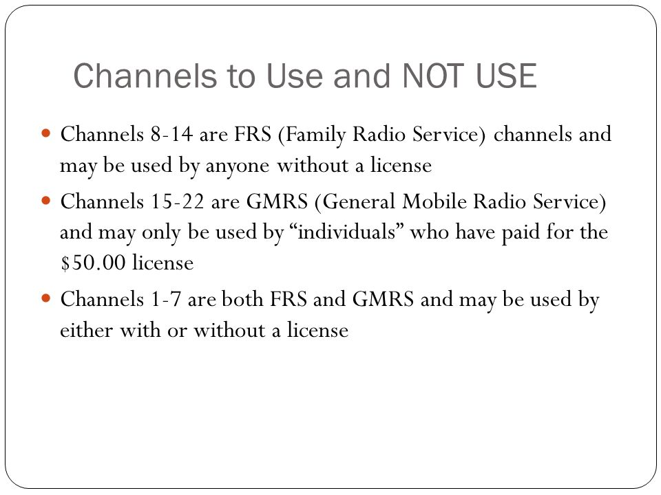 Channels to Use and NOT USE