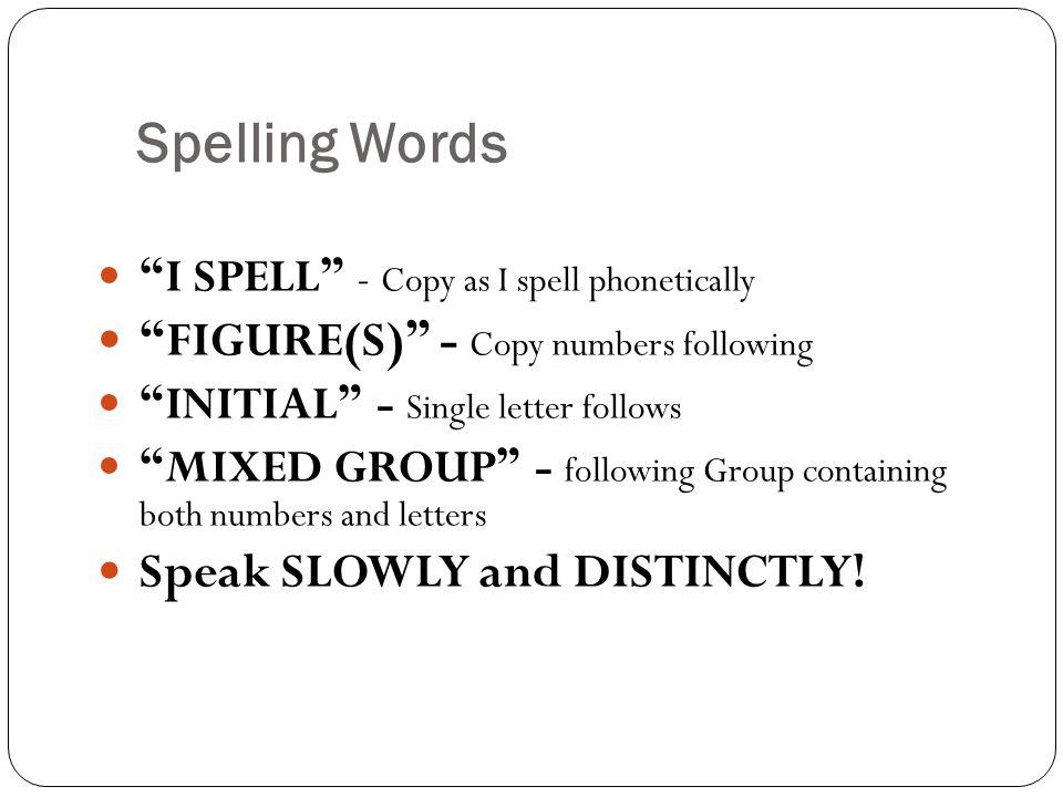 Spelling Words FIGURE(S) - Copy numbers following
