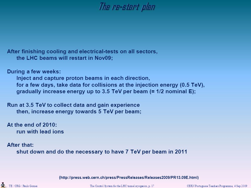 The re-start plan After finishing cooling and electrical-tests on all sectors, the LHC beams will restart in Nov09;