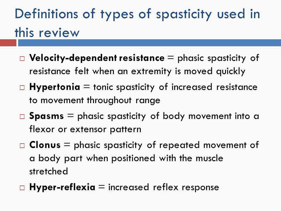 Definitions of types of spasticity used in this review