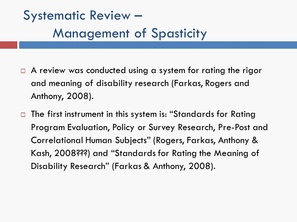 Systematic Review – Management of Spasticity