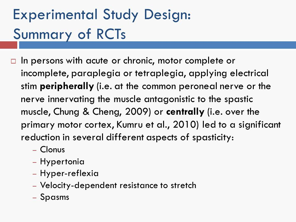 Experimental Study Design: Summary of RCTs