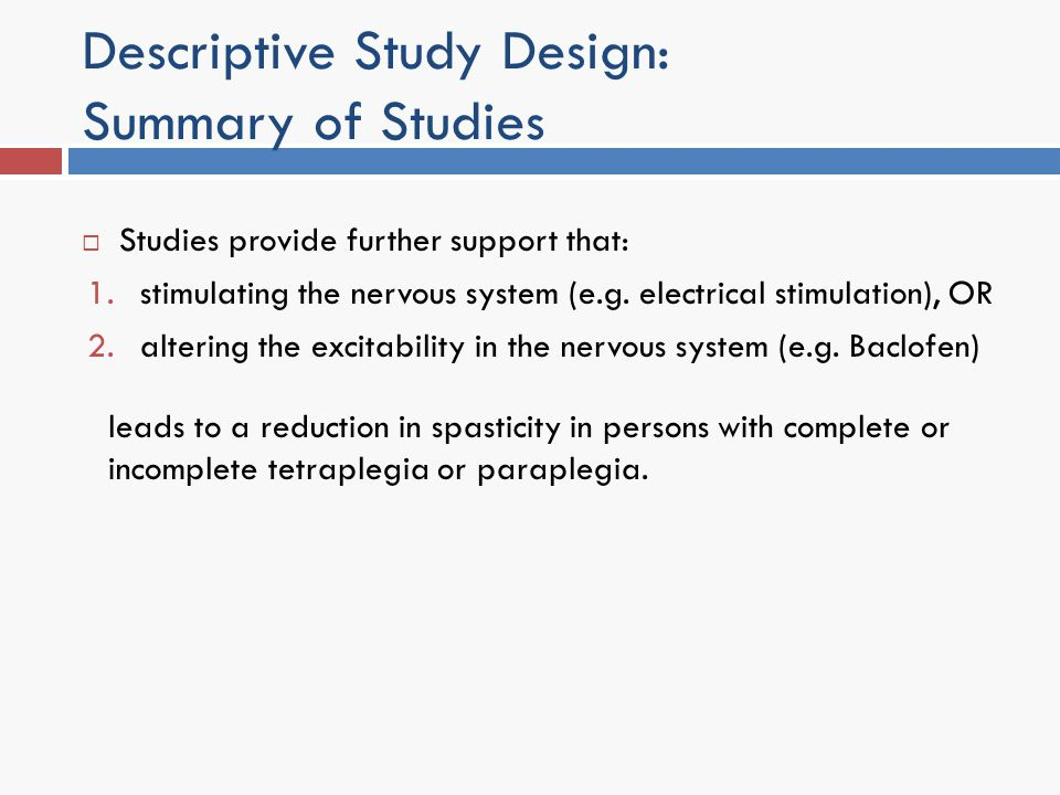 Descriptive Study Design: Summary of Studies