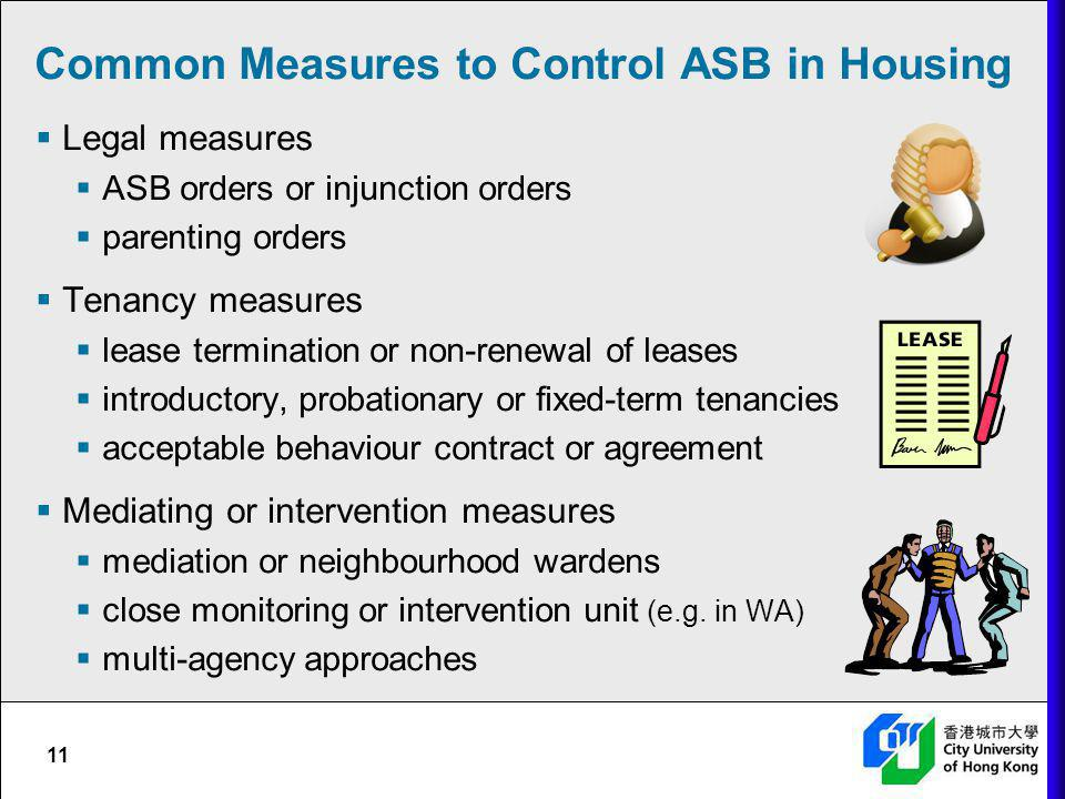 Common Measures to Control ASB in Housing