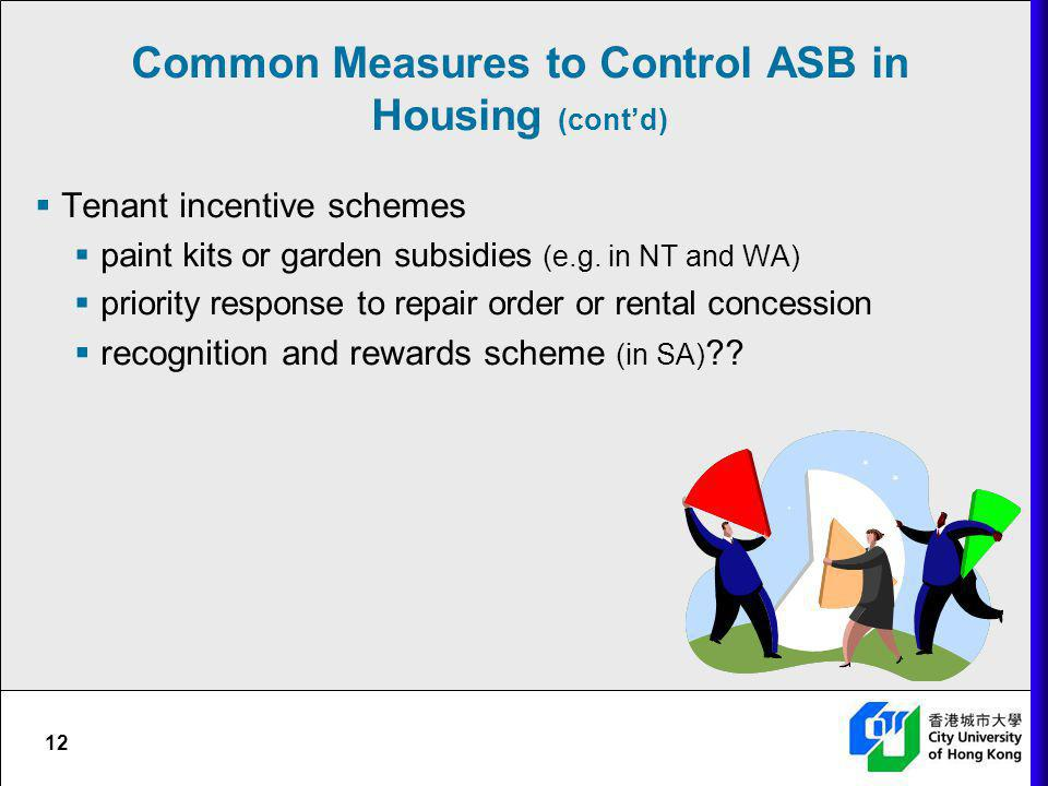 Common Measures to Control ASB in Housing (cont'd)
