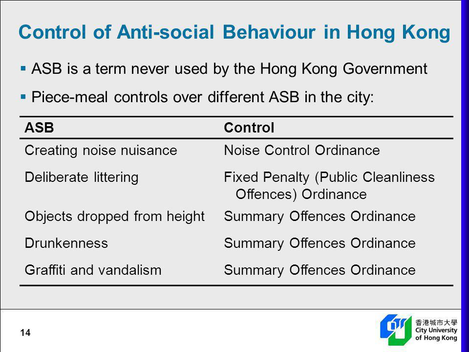 Control of Anti-social Behaviour in Hong Kong