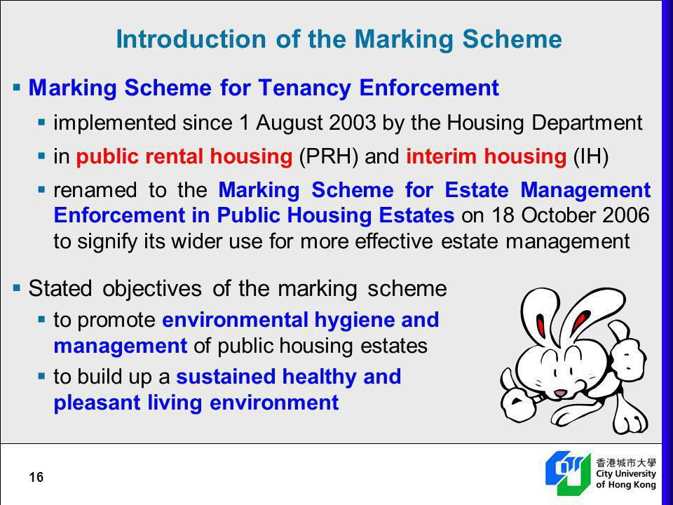 Introduction of the Marking Scheme