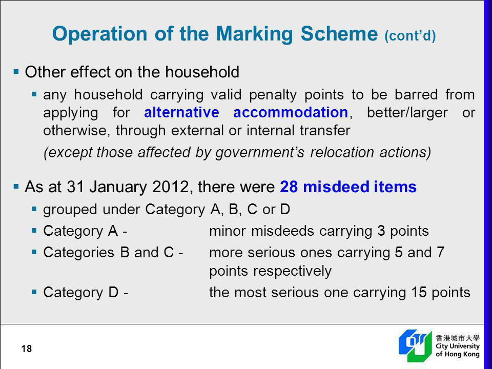 Operation of the Marking Scheme (cont'd)