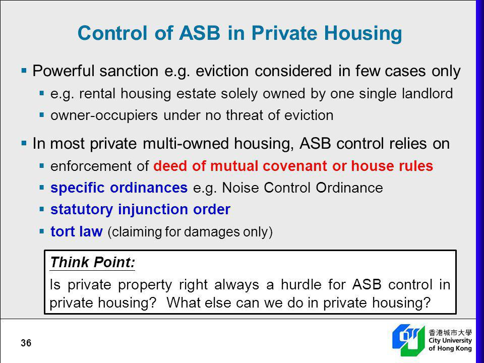 Control of ASB in Private Housing