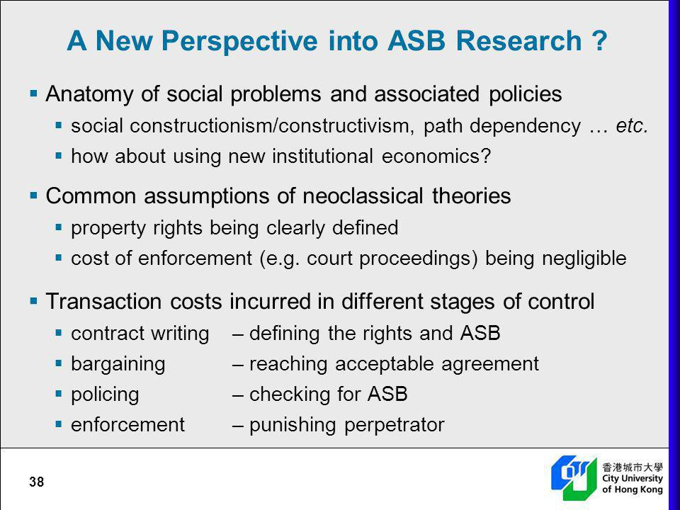 A New Perspective into ASB Research