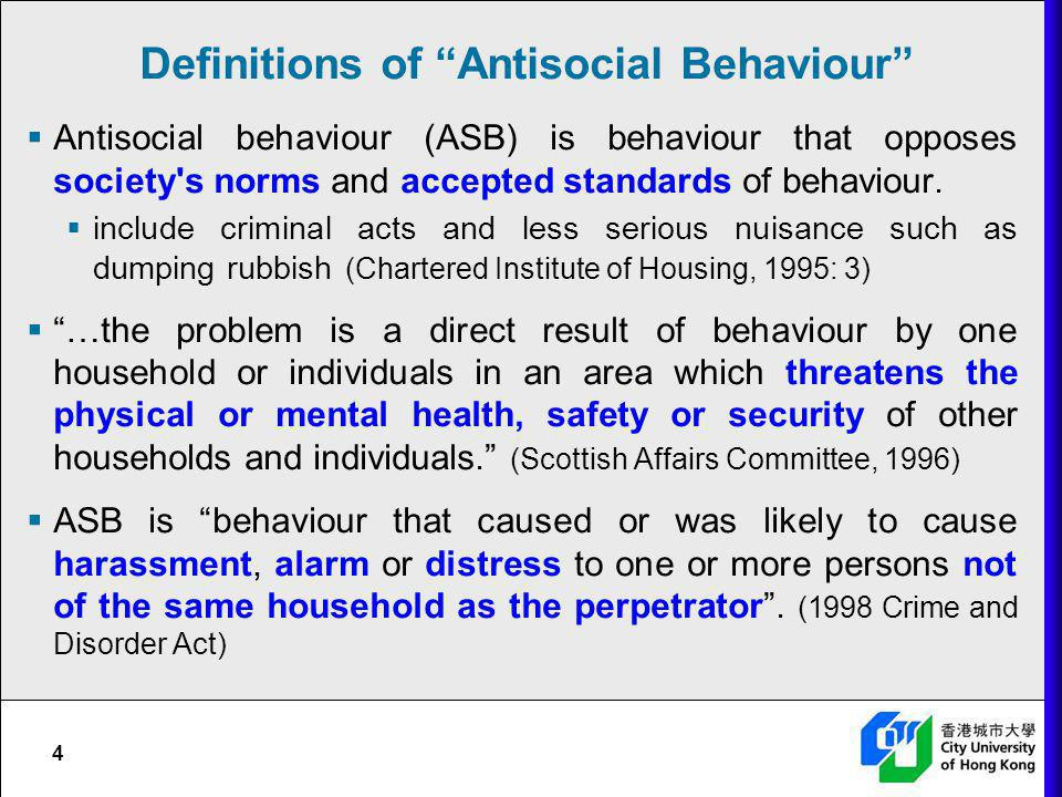 Definitions of Antisocial Behaviour