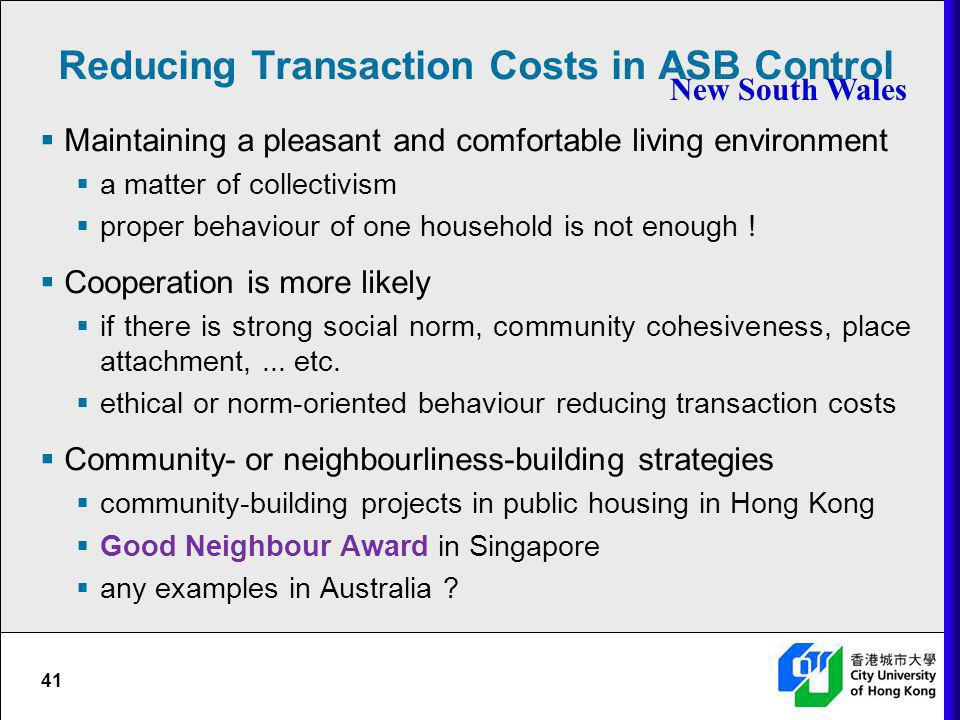 Reducing Transaction Costs in ASB Control
