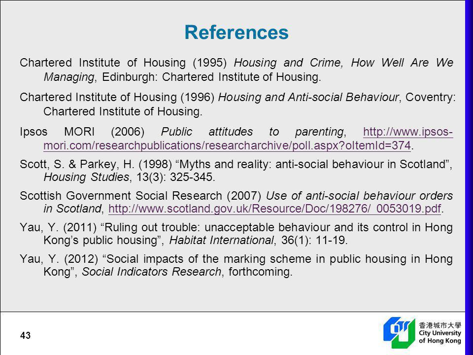 References Chartered Institute of Housing (1995) Housing and Crime, How Well Are We Managing, Edinburgh: Chartered Institute of Housing.