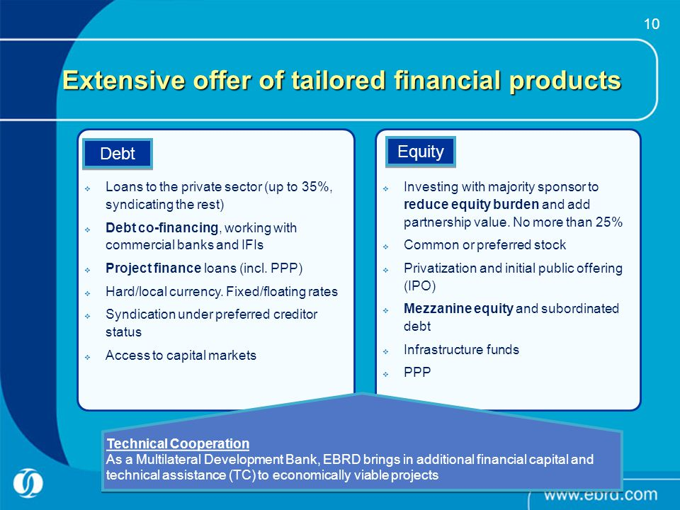 Extensive offer of tailored financial products