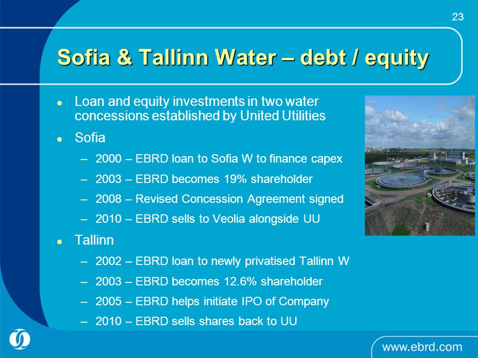 Sofia & Tallinn Water – debt / equity
