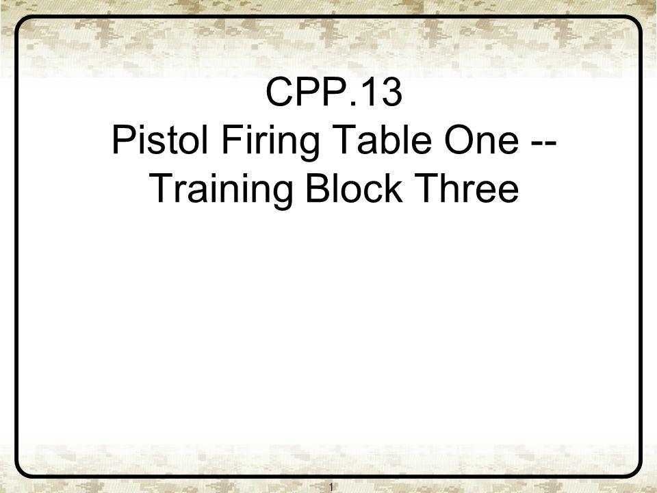 CPP.13 Pistol Firing Table One -- Training Block Three