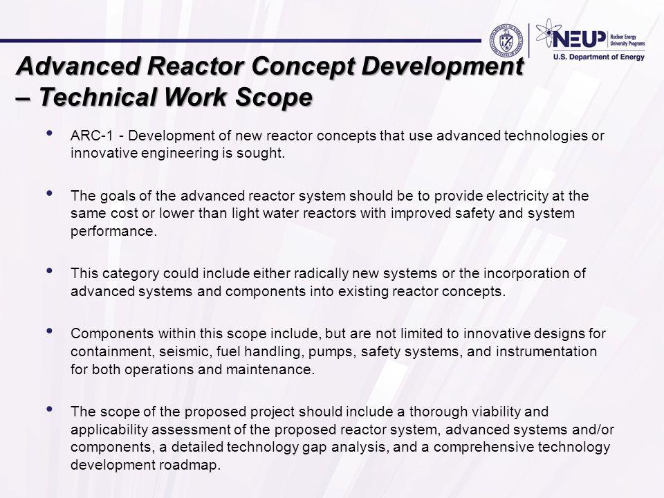 Advanced Reactor Concept Development – Technical Work Scope