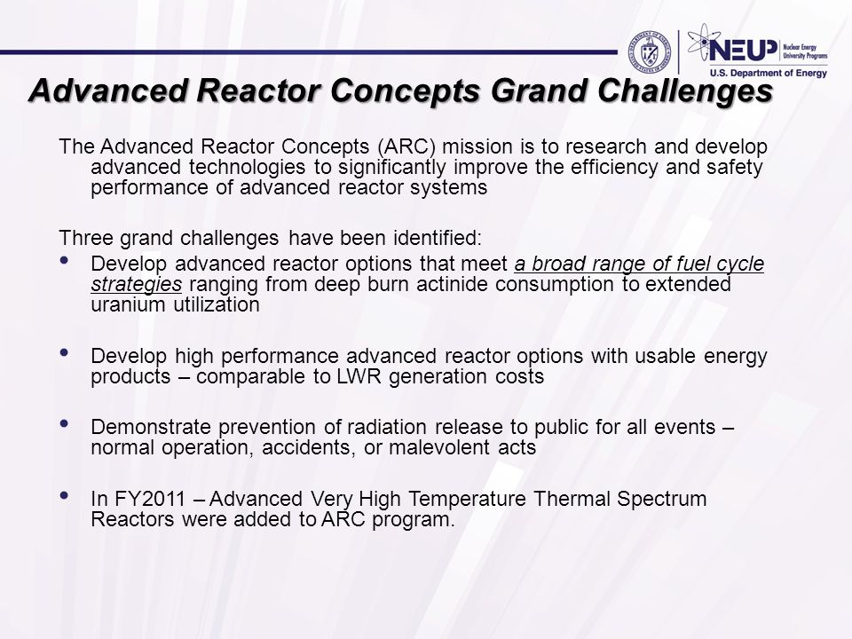 Advanced Reactor Concepts Grand Challenges