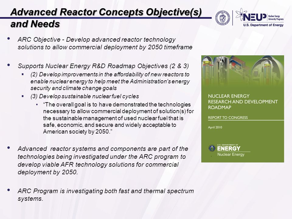 Advanced Reactor Concepts Objective(s) and Needs