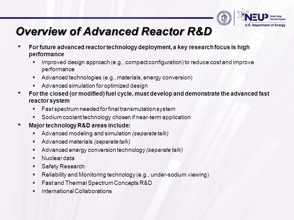 Overview of Advanced Reactor R&D
