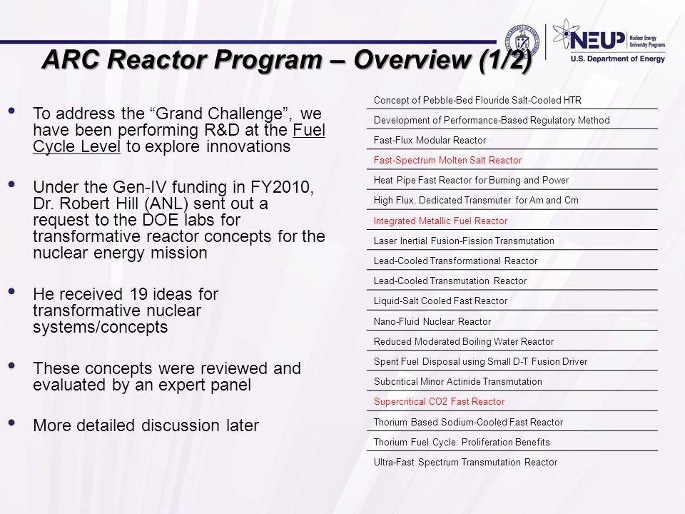 ARC Reactor Program – Overview (1/2)