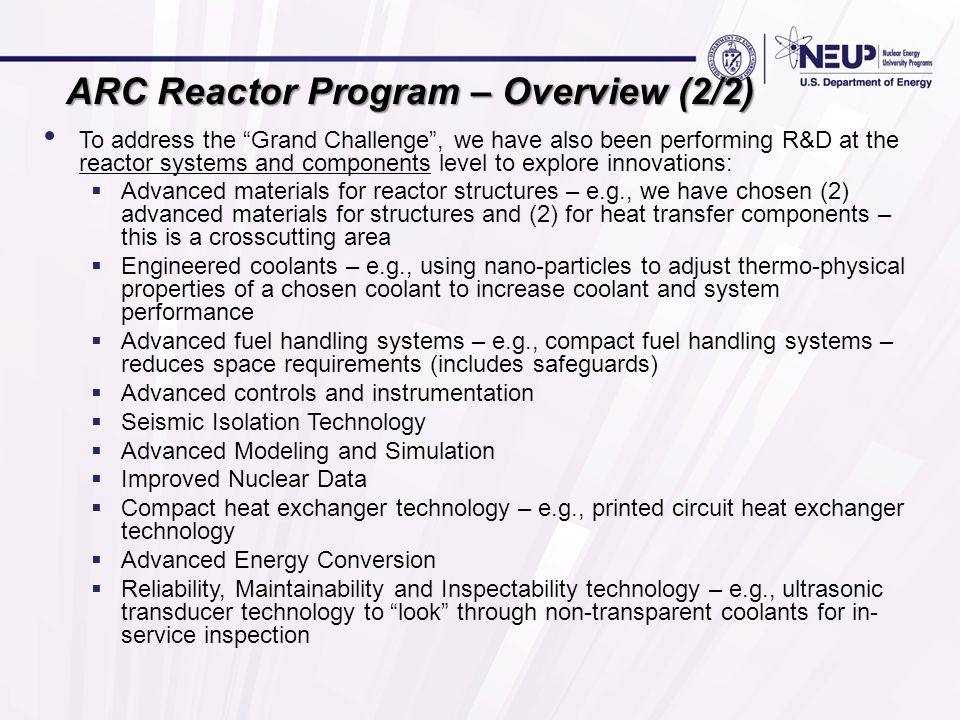ARC Reactor Program – Overview (2/2)