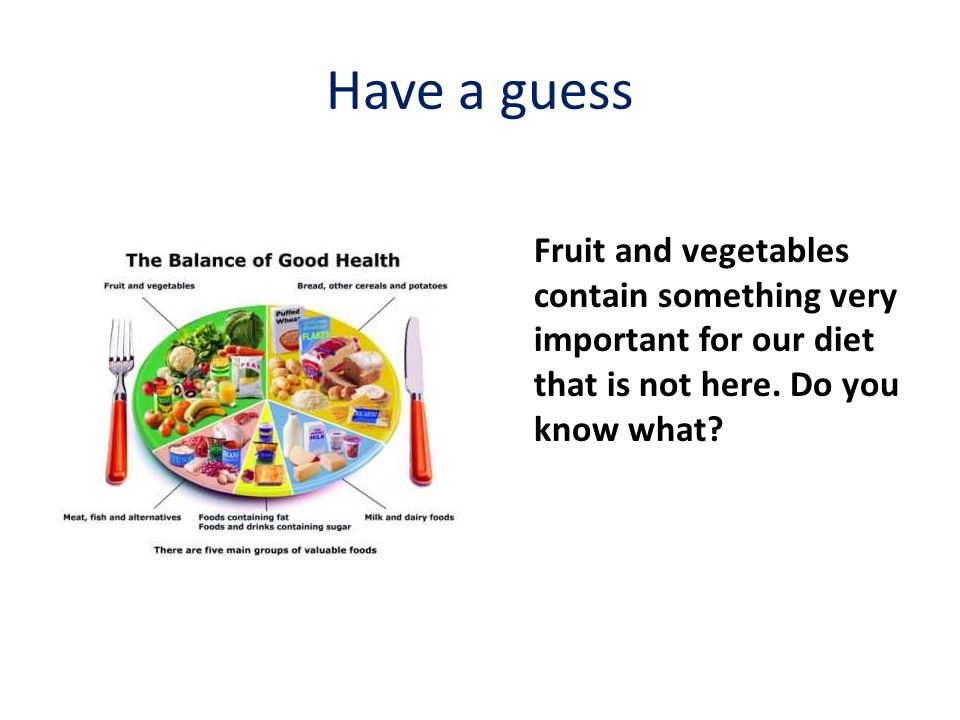 Have a guess Fruit and vegetables contain something very important for our diet that is not here.