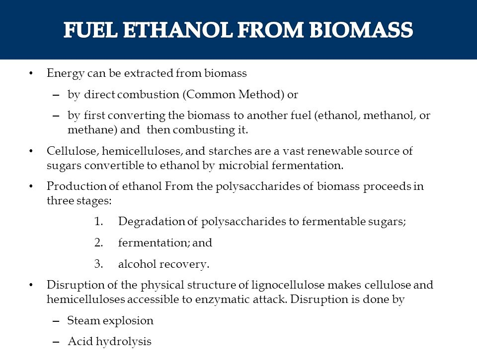 FUEL ETHANOL FROM BIOMASS