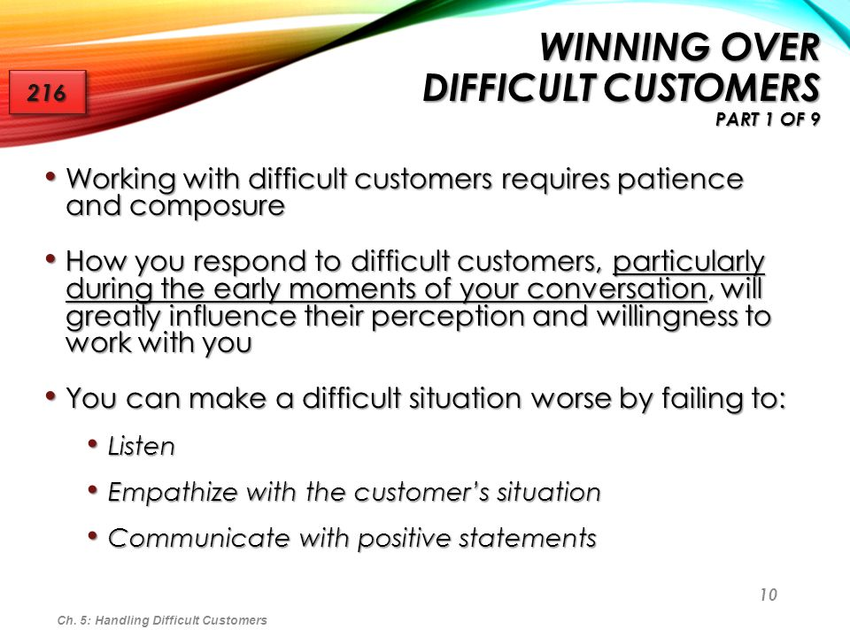 Winning Over Difficult Customers Part 1 of 9
