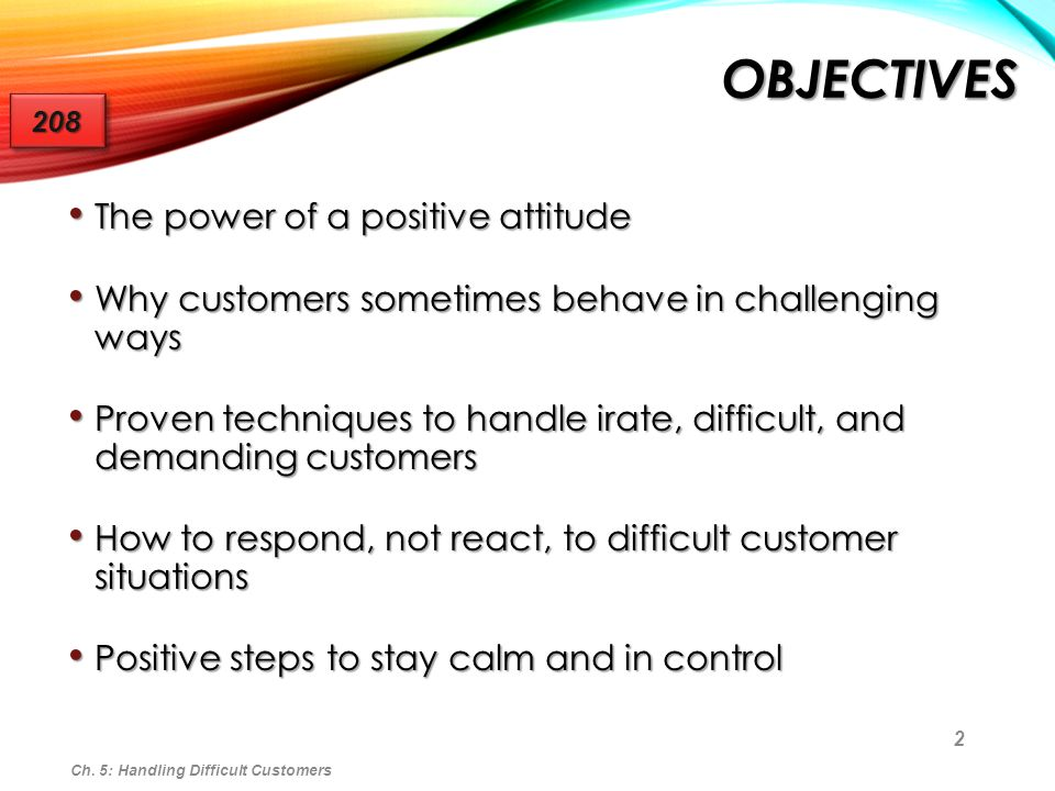 Objectives The power of a positive attitude